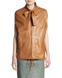 Valentino Leather Tie-Neck Zip Jacket - Lyst