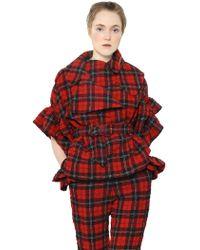 Simone Rocha Plaid Wool Blend Seersucker Jacket - Lyst