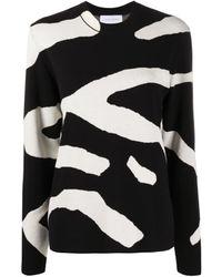 Christian Wijnants Kisha Sweater In White Zebra Stripes - Black