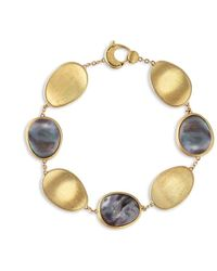 Marco Bicego Lunaria Collection Black Mother Of Pearl Bracelet In 18k Yellow Gold - Metallic