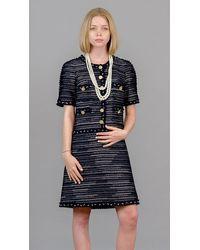 Edward Achour Paris Tweed Short Sleeves Dress - Blue