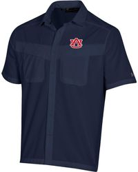 Under Armour Auburn Tigers Blue Tide Chaser Short Sleeve Button Down Shirt