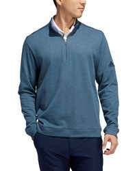 adidas Heathered Layering 1⁄4 Zip Golf Pullover - Blue