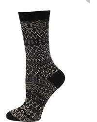 Sorel Cotton Jacquard Pattern Crew Socks - Black