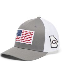 Columbia Georgia Bulldogs Gray Pfg Fish Flag Mesh Fitted Hat