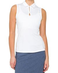 Lija - Grid Keyhole Sleeveless Golf Polo - Lyst