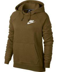 d8eaf61d936b Lyst - Nike Sportswear Rally Metallic Funnel-neck Pullover Hoodie in ...