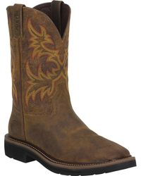 Justin Boots Justin Rugged Tan Cowhide Stampede Work Boots - Brown
