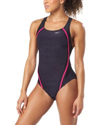 08126e0509c58 DKNY Mesh Effect Splice Maillot One-piece in Black - Lyst