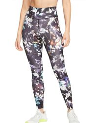 Nike One Printed Washed Floral Tights - Black