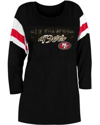 KTZ San Francisco 49ers Foil Slub Black Three-quarter Sleeve T-shirt
