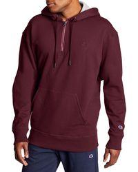 Champion Powerblend 1⁄4 Zip Pullover Hoodie - Purple
