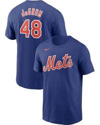 Nike - New York Mets Jacob Degrom #48 Blue T-shirt - Lyst