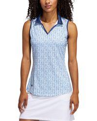 adidas Ultimate Printed Sleeveless Golf Polo - Blue