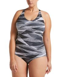 0f92fe30333 Nike Lineup Crossback V-neck Midkini Swim Top in Black - Lyst