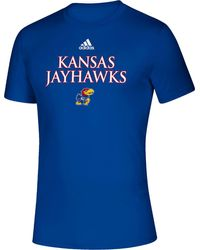 adidas - Kansas Jayhawks Blue Locker Room Word Performance T-shirt - Lyst