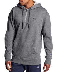 Champion Powerblend 1⁄4 Zip Pullover Hoodie - Gray
