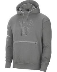 Nike - Adult Brooklyn Nets Grey Fleece Pullover Hoodie - Lyst