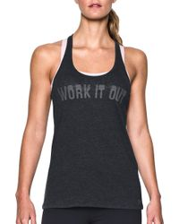 35534879d5acc Under Armour - T-back Work It Out Graphic Tank Top - Lyst