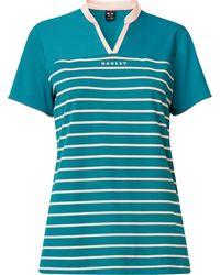 Oakley Bella Striped Short Sleeve Golf Polo - Blue
