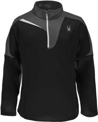 Spyder Charger Therma Stretch T-neck Long Sleeve Shirt - Black