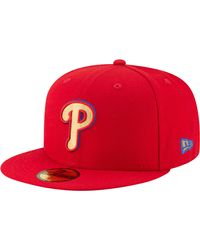 KTZ Philadelphia Phillies 59fifty Logo Stopper Fitted Hat - Red