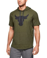 Under Armour Project Rock Charged Cotton Short Sleeve Hoodie - Green