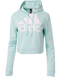 adidas - Cropped French Terry Hoodie - Lyst