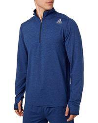 Reebok 24/7 Jersey 1/2 Zip Long Sleeve Shirt - Blue