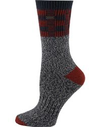 Sorel Buffalo Plaid Block Wool Crew Socks - Blue