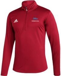 adidas Tulsa Golden Hurricane Under Red Quarter-zip Pullover
