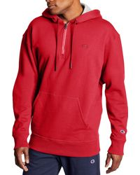 Champion Powerblend 1⁄4 Zip Pullover Hoodie - Red
