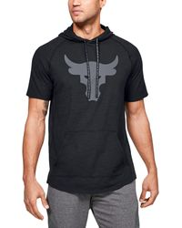 Under Armour Project Rock Charged Cotton Short Sleeve Hoodie - Black