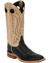 Justin Boots Justin Calfskin Bent Rail Western Boots - Black