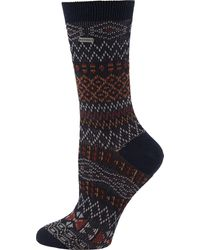 Sorel Cotton Jacquard Pattern Crew Socks - Blue
