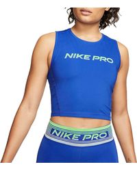 Nike Pro Breathable Cropped Tank Top - Blue