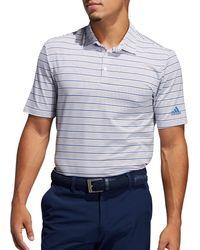 adidas Ultimate365 Pencil Stripe Golf Polo - Blue