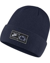 Nike - Penn State Nittany Lions Blue Throwback Patch Cuffed Knit Beanie - Lyst