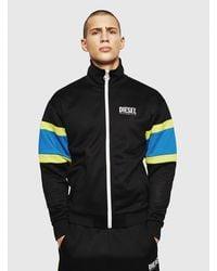 DIESEL S-akon Zip-up Sweatshirt With Contrast Bands - Black