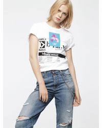 DIESEL - T-shirt With Shiny And Matte Prints - Lyst