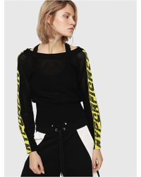 DIESEL Mesh Sweater With Open Back - Black