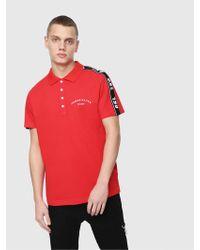 df9f6250 DIESEL Side Stripe Polo Shirt in Red for Men - Lyst