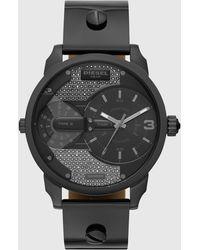 DIESEL Dz5584 Mini Daddy Two-hand Gunmetal Leather Watch - Black
