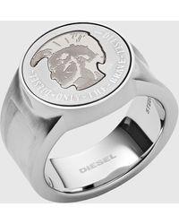DIESEL Dx1202 Mohican Head Stainless Steel Signet Ring - Metallic