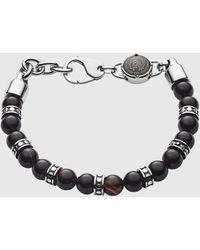 DIESEL Dx1163 Beaded Black Line Agate Bracelet