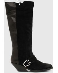 DIESEL D-giudecca Mbr Knee-high Boots In Mixed Leather - Black