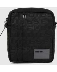 DIESEL Oderzo Poly Cross-body With All-over Logo - Black