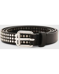 DIESEL B-studall Studded Leather Belt - Black