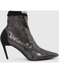 DIESEL Sequined Mid-heel Sock Boots - Black