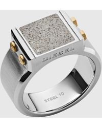 DIESEL Dx1195 Engraved Two-tone Stainless Steel And Concrete Signet Ring - Metallic